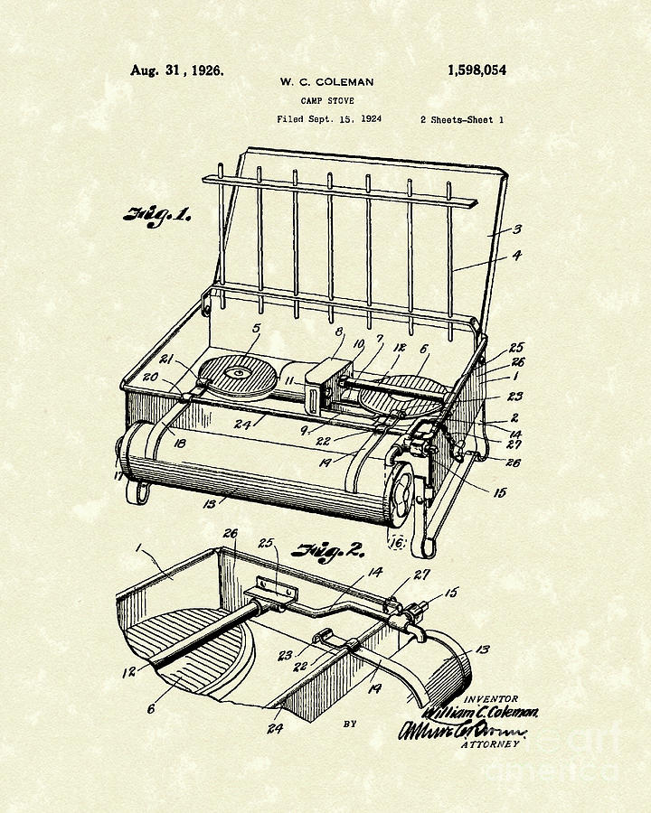 720x900 Camp Stove 1926 Patent Art Drawing By Prior Art Design