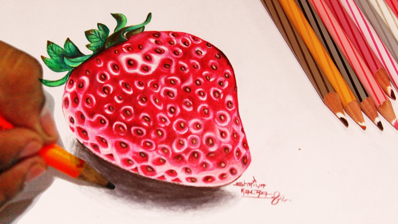 1280x720 Draw Strawberry Color Pencil Version Step By Step Video