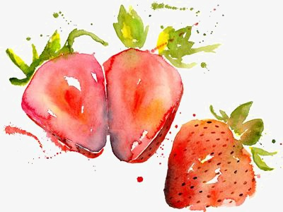 400x300 Strawberry, Hand Painted Strawberry, Drawing Strawberries