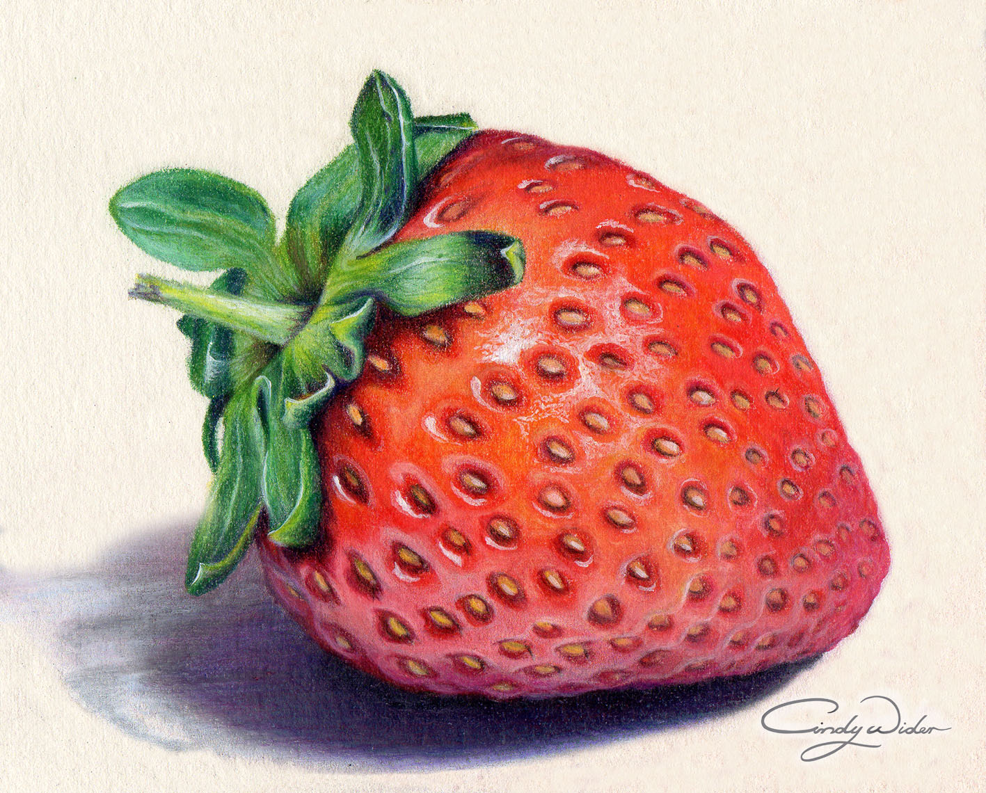1417x1140 This Strawberry Was Created With Prismacolour Pencils On Waterford
