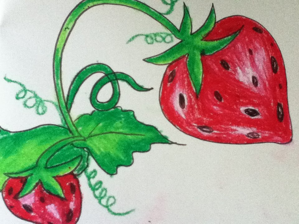 960x720 Strawberry Drawing For Kids In Simple Steps