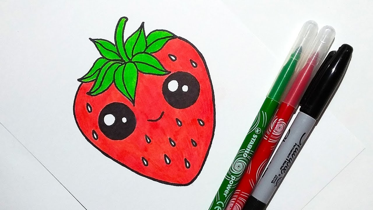 1280x720 How To Draw A Cute Strawberry Easy