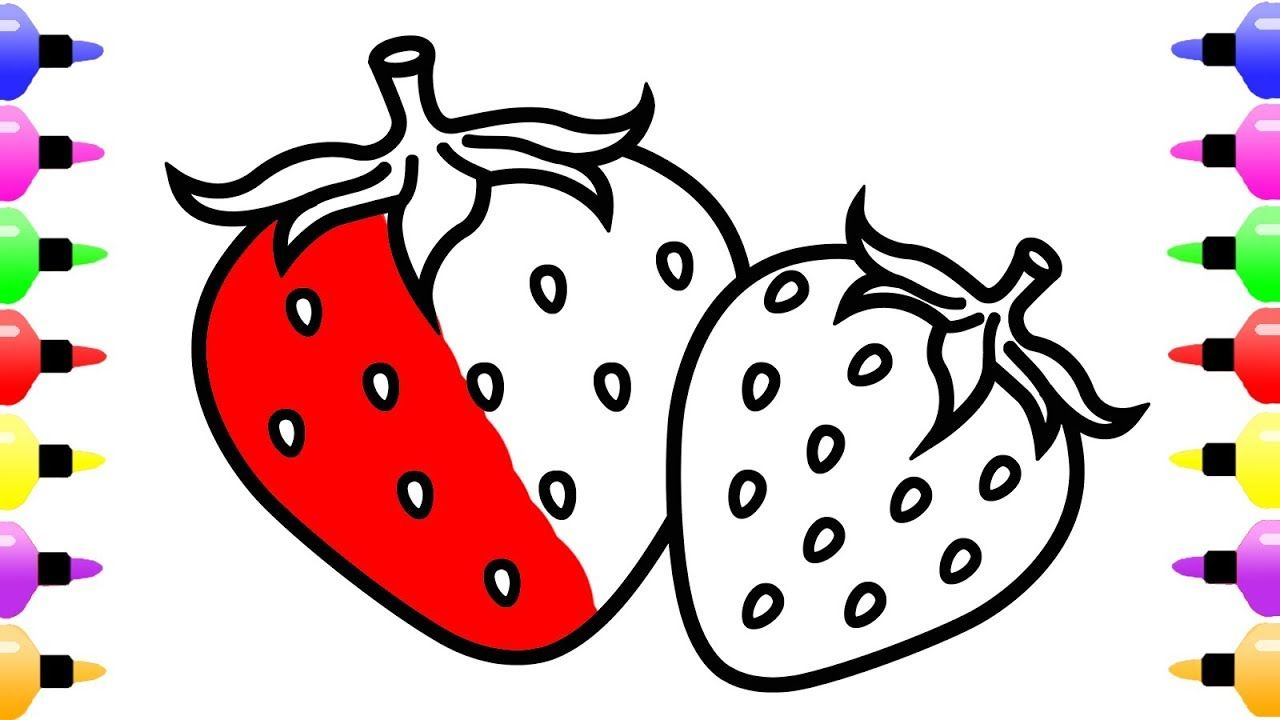 1280x720 Strawberry Drawing And Coloring Pages For Kids With Colored Marker