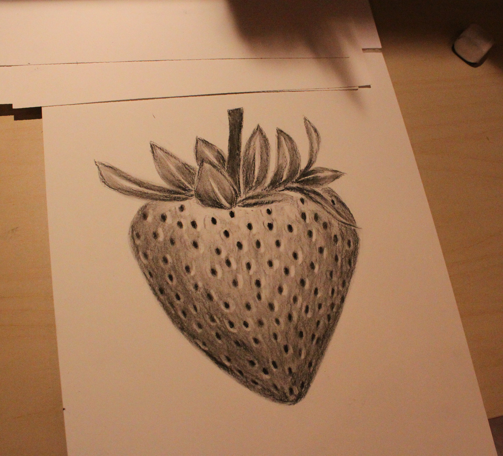 1024x930 Strawberry Drawing Charcoal Drawing. Hebatt
