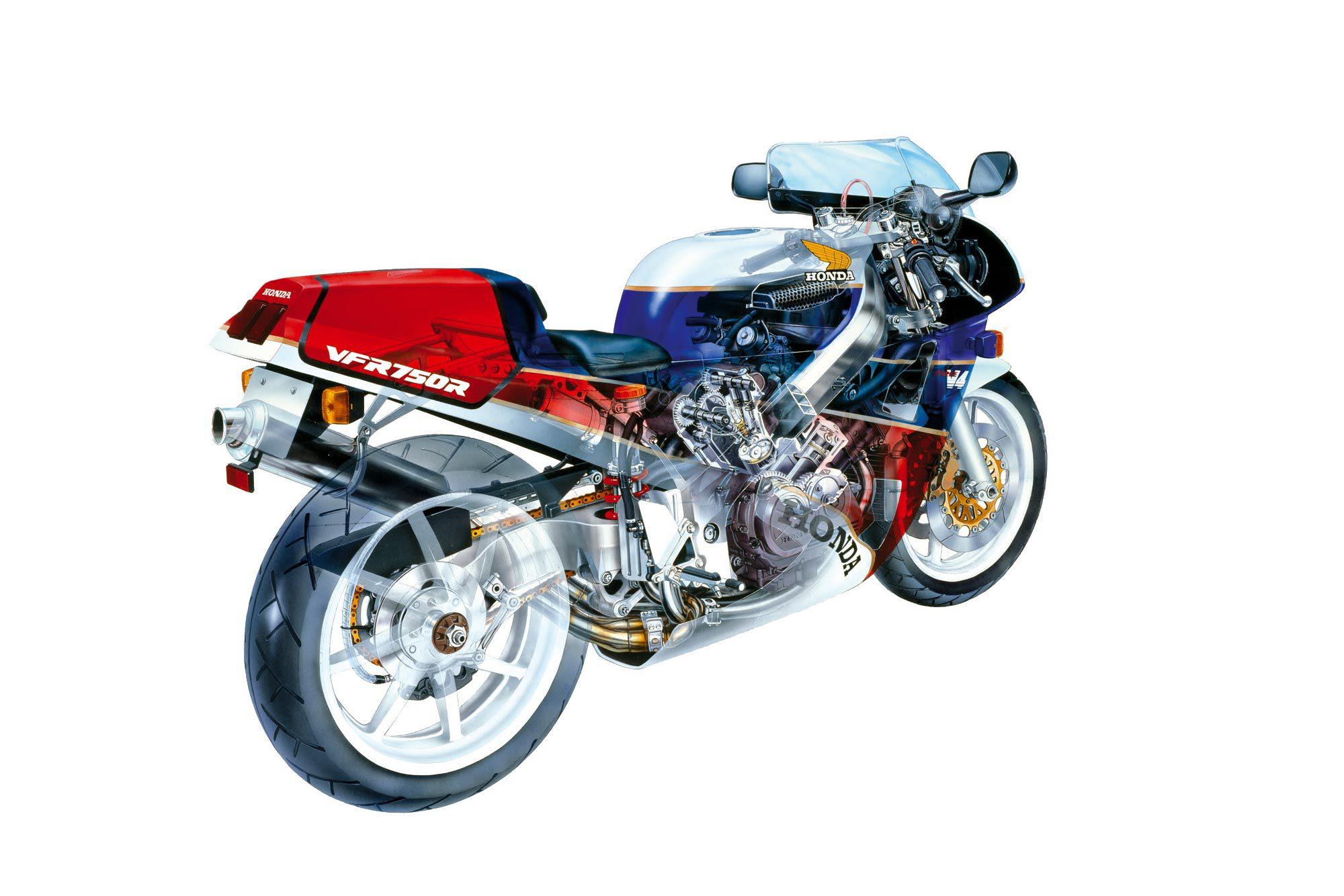 2000x1334 Honda Rc30 Cutaway Drawing Honda Vfr750f Nr750 Vfr800 Vtec