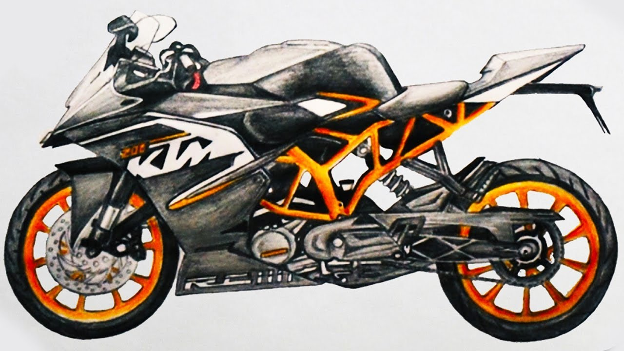 1280x720 How To Draw A Motorcycle Ktm Rc 200 Sports Bike Step By Step Easy