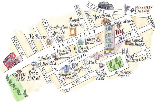 640x419 Jermyn Street, London Property Map Michael A. Hill Illustrate