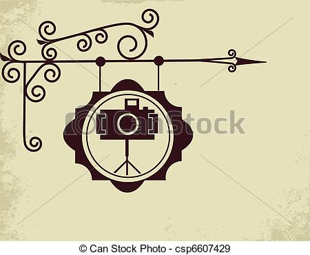 450x370 Antique Street Sign Of Photo Store , Vector Illustration Eps