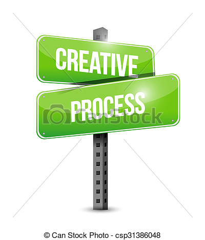 400x470 Creative Process Street Sign Concept Illustration Design Drawing