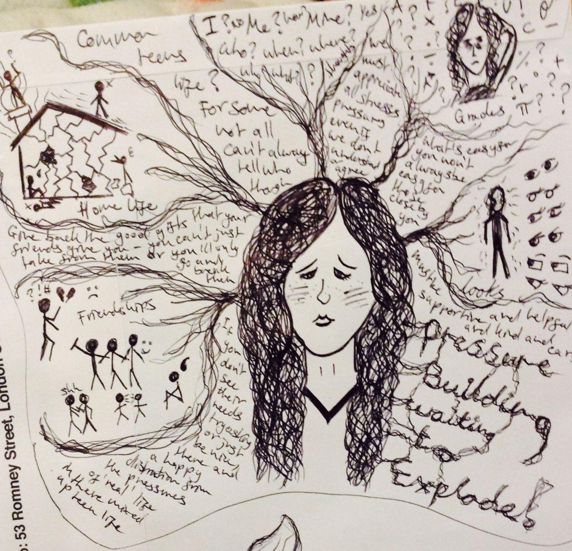 1136x1094 Biro Drawing Stress Life Of Teens My Art Mental