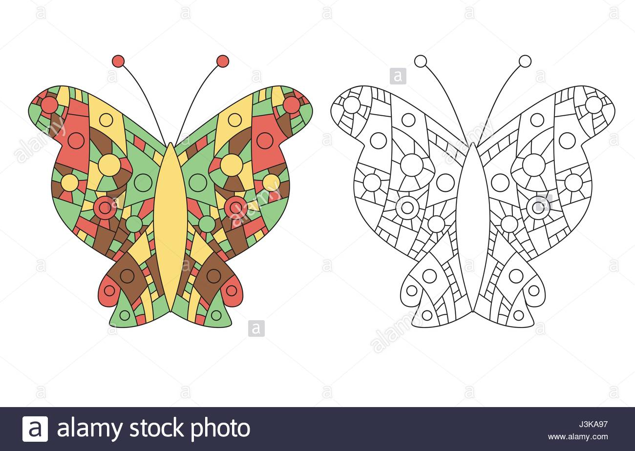 1300x924 Coloring Page For Adult Zentangle Anti Stress Drawing. Butterfly