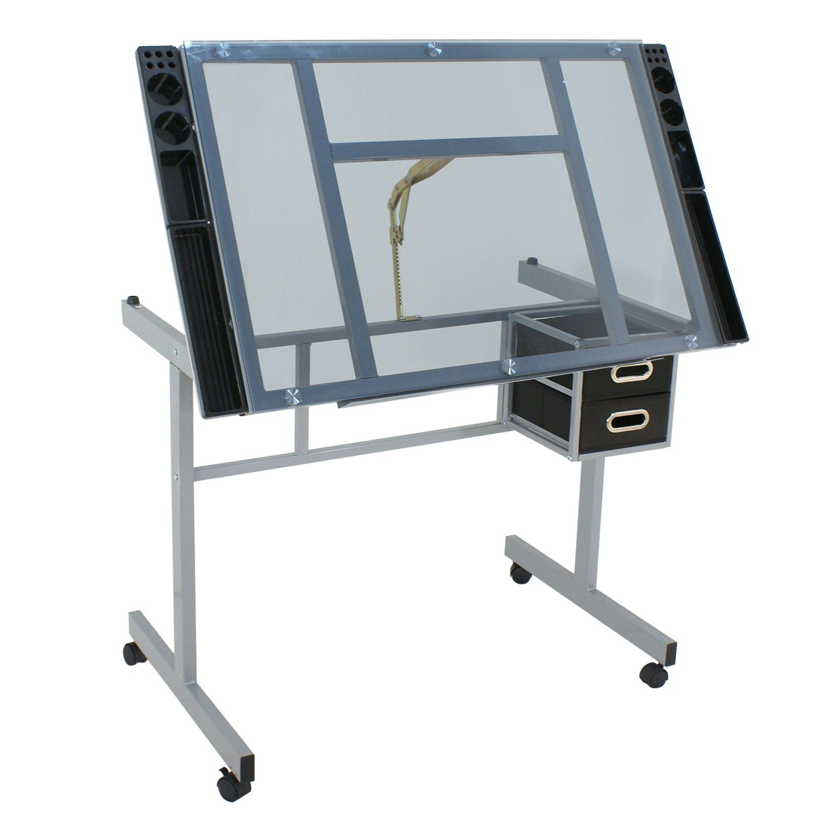 1600x1600 Drafting Craft Desk Station Glass Top Drawing Art Work Table