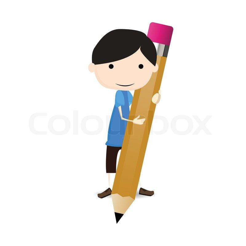 800x800 Student Draw A Big Pencil Stock Vector Colourbox
