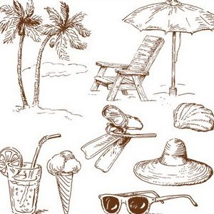 300x300 Beach Stuff Drawing Vector Vector Design Wood Burning