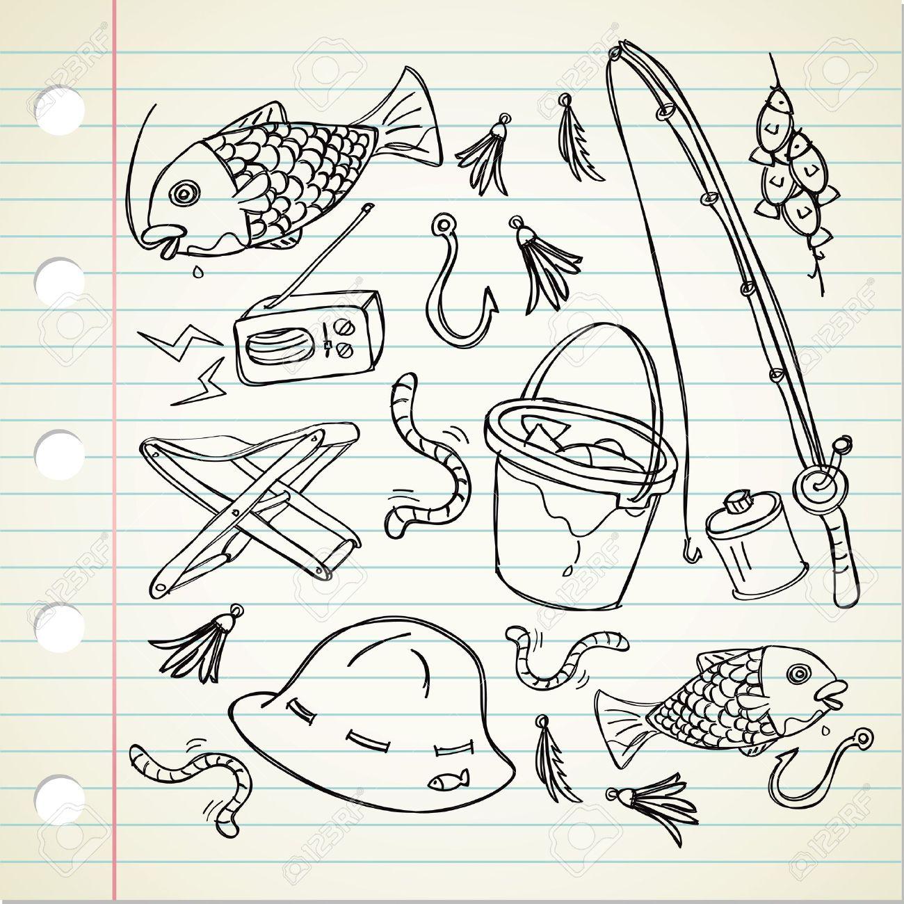 1300x1300 Fishing Stuff In Doodle Style Royalty Free Cliparts, Vectors,
