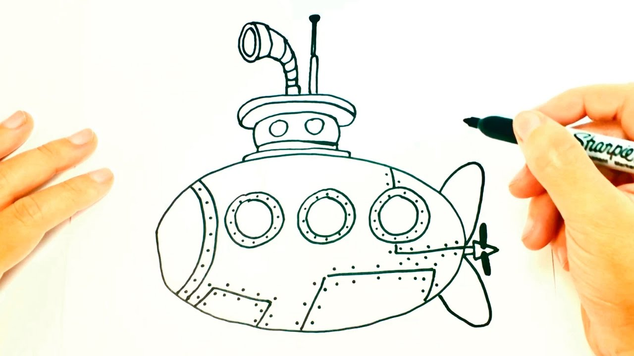 1280x720 How To Draw A Submarine For Kids Submarine Drawing Lesson Step