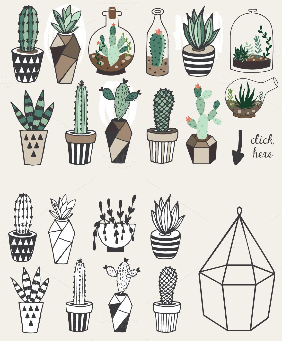 1160x1400 Succulents +unlimited License Artsy Doodles