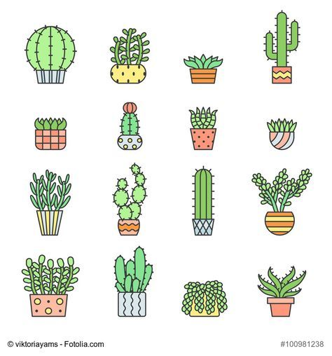 474x508 Succulents And Cacti Outline Multicolored Vector Icons Set. Modern