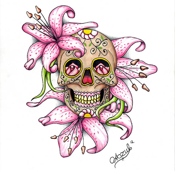 576x563 Cool Colorful Skull Drawing Sugar By Azul80 D52untx Day Of
