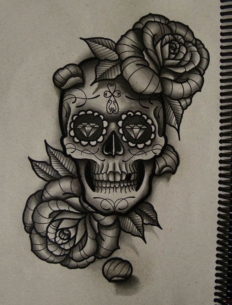Sugar skull and rose drawing at free for for Rose and skull tattoos
