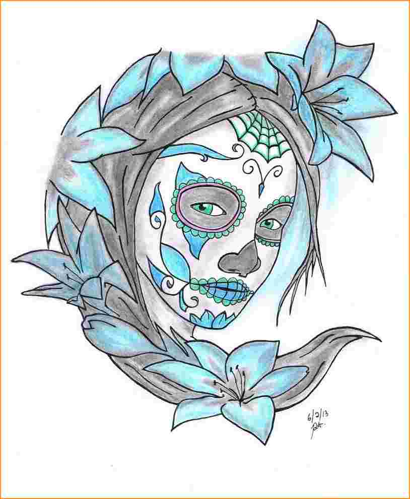 814x990 Drawing A Sugar Skull Sugar Skull Drawings.how To Draw A Sugar