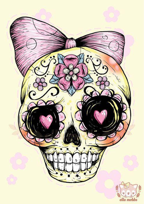 500x707 Yellow Sugar Skull Via Tumblr Skull Art Sugar