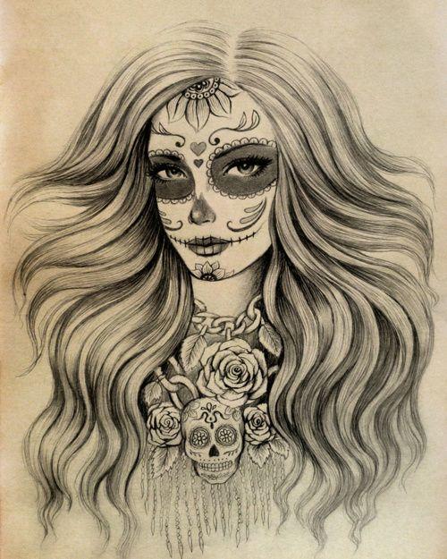 500x625 Sugar Skull Tattoos With Long Hair Sugar Skull Girl Tumblr