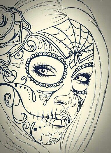 381x525 Gallery Cute Sugar Skull Coloring Drawings Sugar