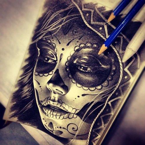 500x500 Sugar Skull Drawing By Randy Engelhard