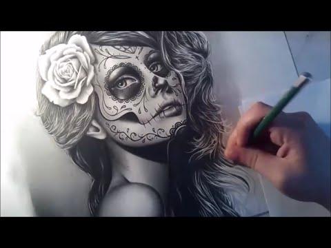 480x360 Sugar Skull Girl Portrait Speed Drawing