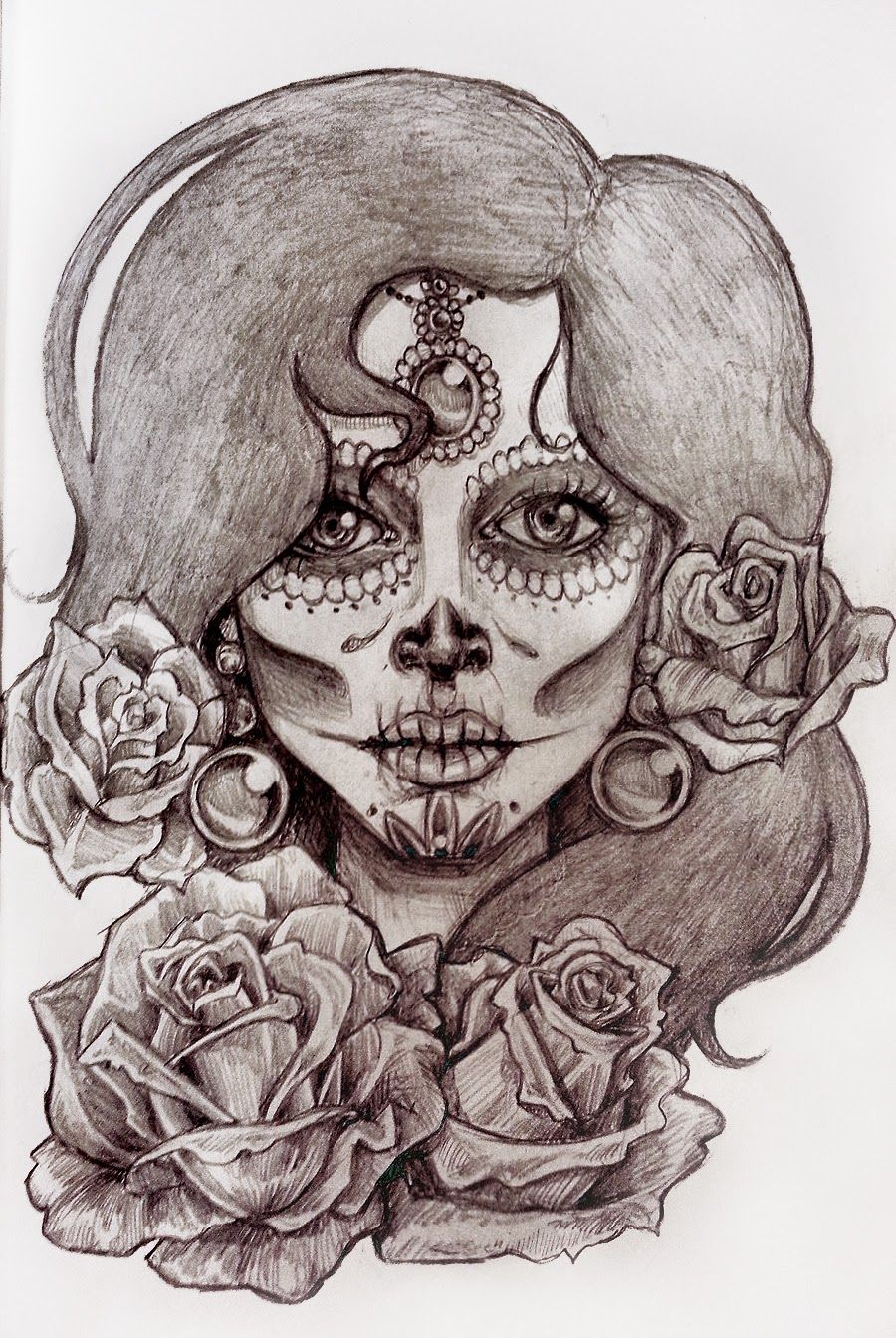900x1344 Skull Face With Flowers And Webs Amazing Drawings Of Skull Faces