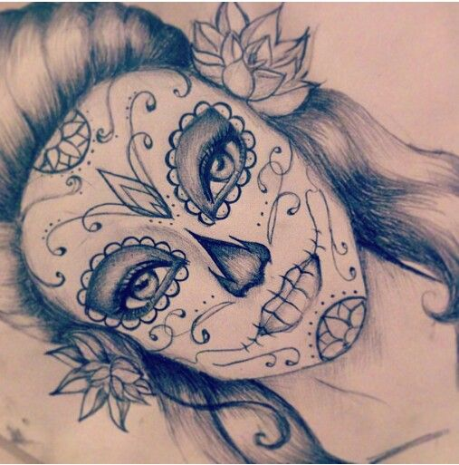 507x513 Drawn Sugar Skull Symmetrical