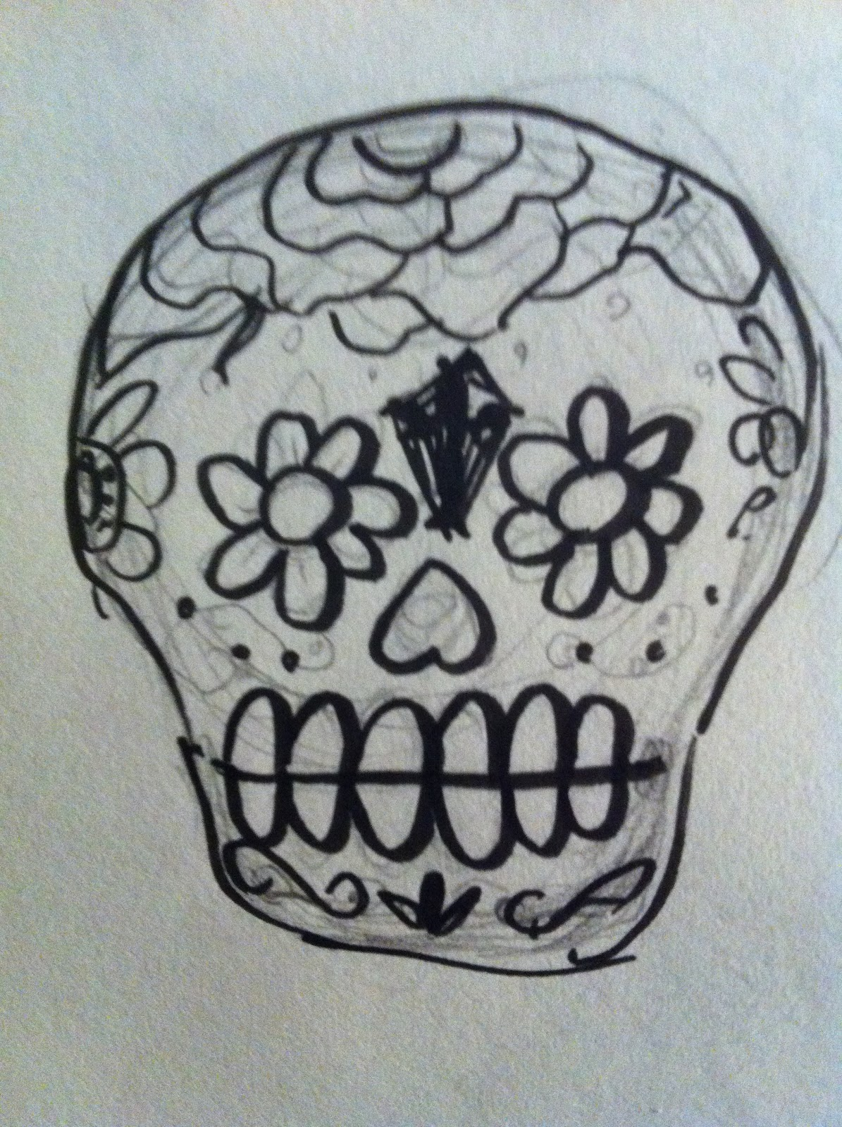 1195x1600 A Million Bad Drawings Sugar Skull Paint Job! Bad Drawing