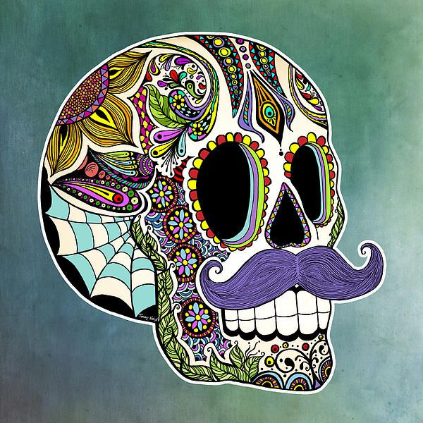600x600 Hand Drawn Ink Illustration Of A Day Of The Dead Sugar Skull
