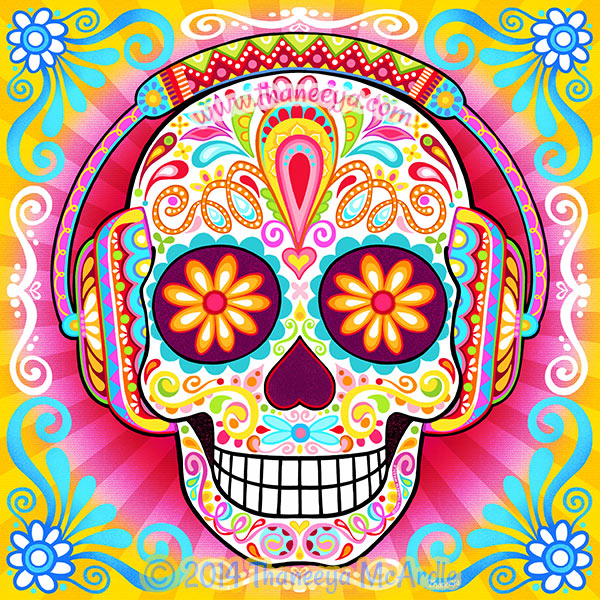 600x600 Sugar Skull Art Colorful Day Of The Dead Art By Thaneeya Mcardle