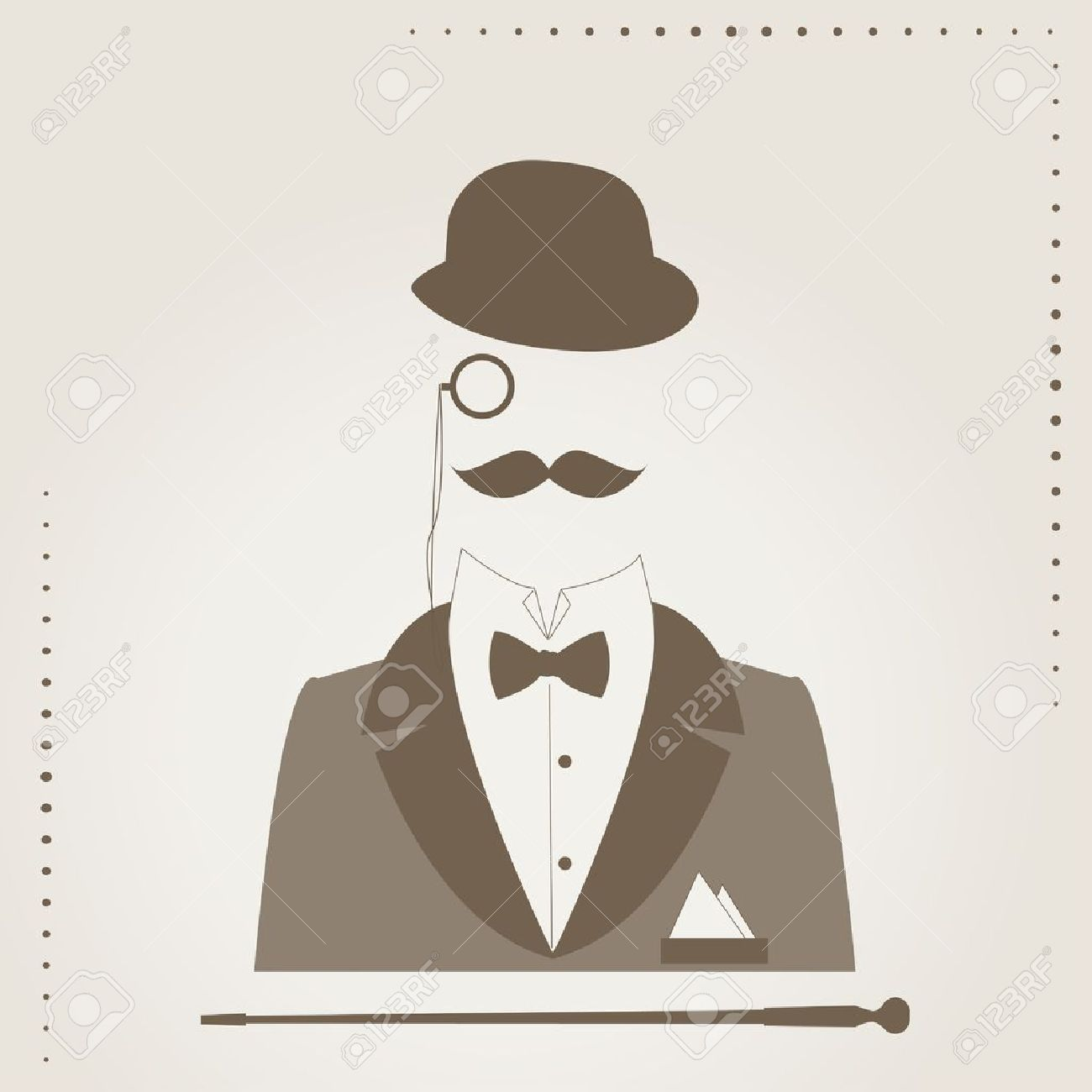 1300x1300 Hand Drawing Illustration Of Of Bowler, Mustaches, Stick, Elegant
