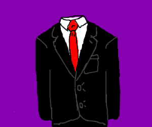 300x250 A Black Button Down Suit With Red Tie