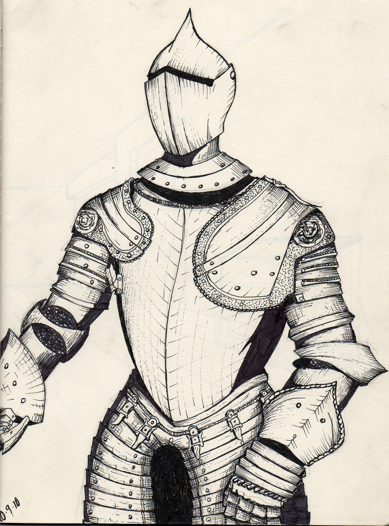 758x1024 Suit Armor Ink Drawing The Book