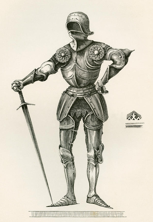 622x900 Suit Of Gothic Armour, Known As La Drawing By Vintage Design Pics