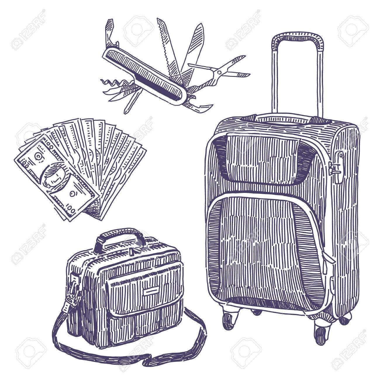 1300x1300 Drawings Set With Suitcase, Bag, Tourist Knife And Fan Of Money