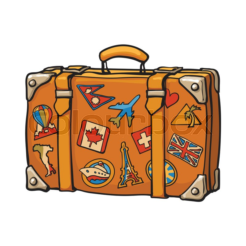 800x800 Hand Drawn Retro Style Travel Suitcase With Colorful Labels