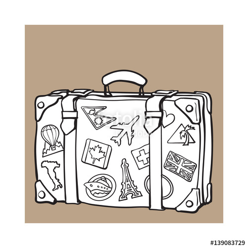 500x500 Hand Drawn Retro Style Travel Suitcase With Labels, Black