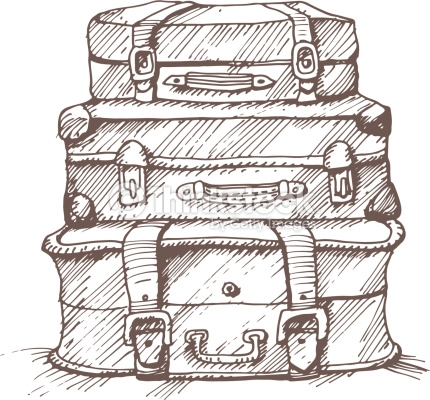 430x400 Vector Art Hand Drawn Illustration Of A Stack Of Suitcases