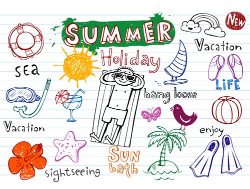 500x377 Cute Summer Holiday Hand Drawing Elements Vector