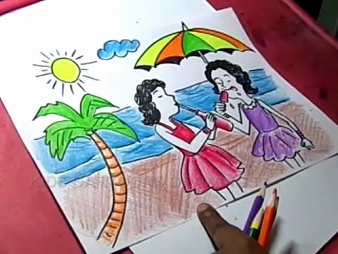 480x360 How To Draw Summer Season Beach Drawing For Kids