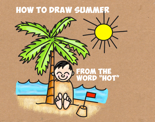 500x396 How To Draw A Cartoon Summer Beach Scene From The Word Hot