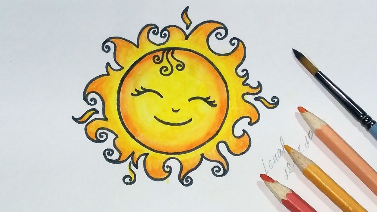 1280x720 How To Draw A Cute Sun Step By Step