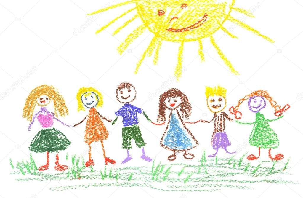 1023x668 Summer Day, Child's Drawing Stock Photo Elightshow