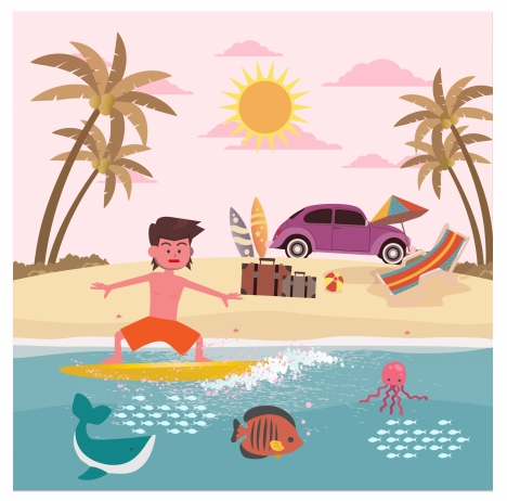 468x462 Summer Vacation On Sea Drawing With Joyful Man Vectors Stock
