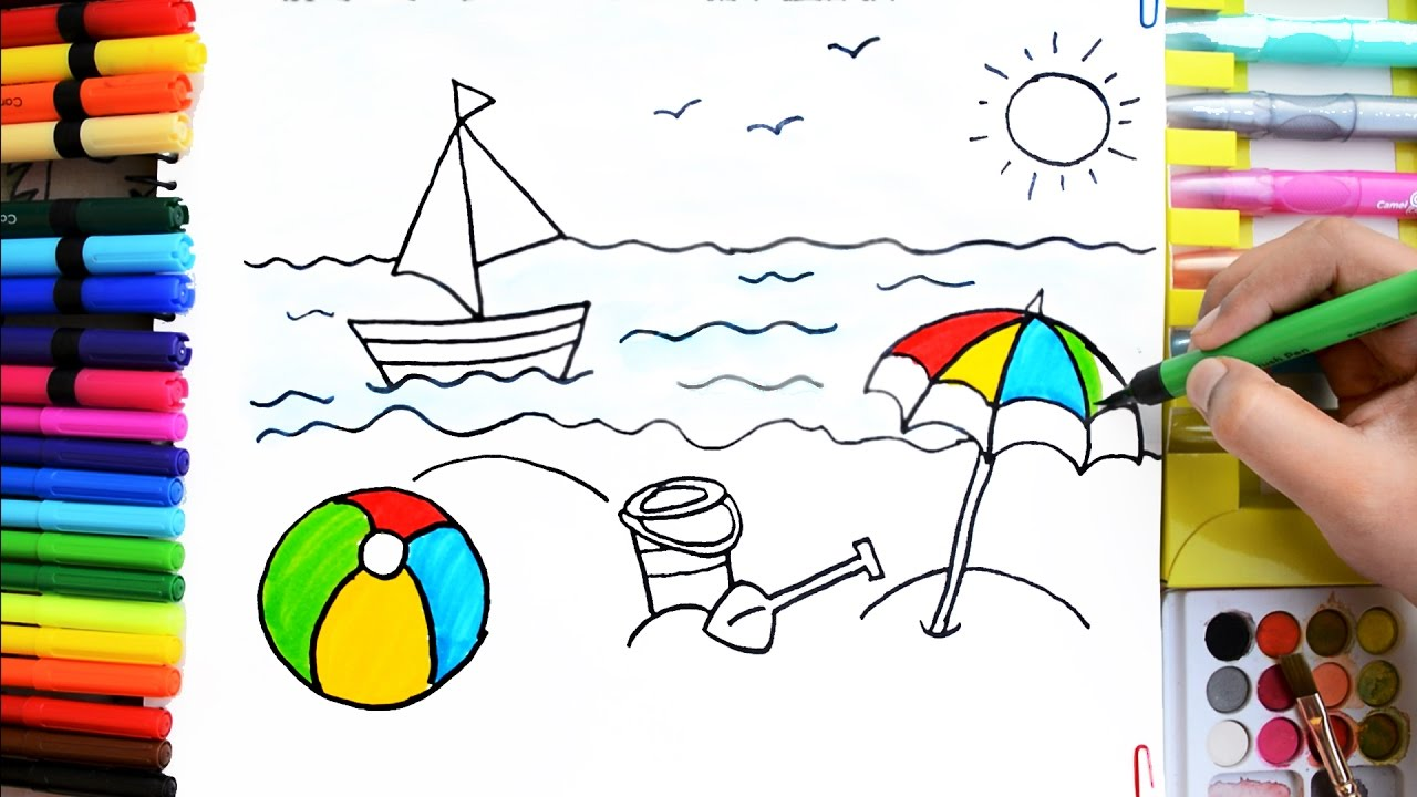 1280x720 Draw Color Paint Summer Fun, Ball, Boat, Bucket, Umbrella Coloring